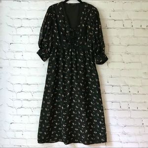 Topshop Black Floral Midi Dress Swiss Dot Lace Up